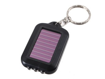 Solar Power Rechargeable 3LED Flashlight Keychain Torch