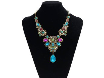 Pendant Chain Women Statement Crystal Bib Beaded Collar Necklace