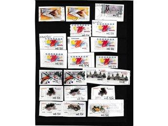 SPANIEN - CIRKA 20 STÄMPLADE FRANKERINGSETIKETTER - FRI FRAKT - Kungsbacka - SPANIEN - CIRKA 20 STÄMPLADE FRANKERINGSETIKETTER - FRI FRAKT - Kungsbacka