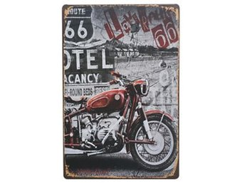 Väggdekoration Cool Retro Metall Skylt Motorcykel Route 66 Ny