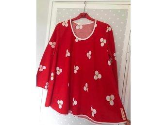 Vintage Retro röd mönstrad tunika kort klänning Wahls A