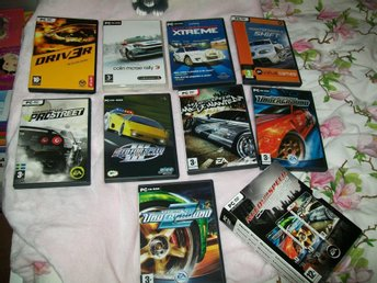 9 Pc bilspel = 6 st Need For Speed , Driv3r Colin Mcrae Rally 3 m.m