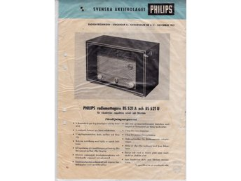Philips radiomottagare BS 521 A/U 1952