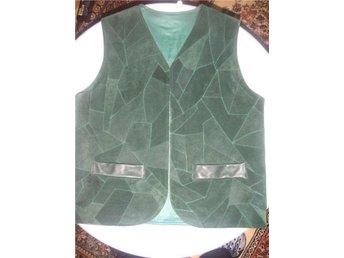 Vest mocca/ läder/ skinn grön stl. L - Kävlinge - Vest mocca/ läder/ skinn grön stl. L - Kävlinge