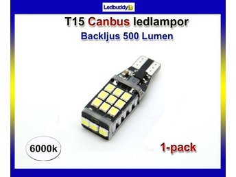 T15 W16W ( T10 w5w ) Canbus backljus Led med 21st 2835smd chip 6000K 1-pack