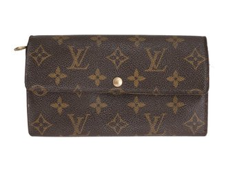 Äkta Louis Vuitton Sarah Porte Monnaie Credit Long Plånbok Monogram Canvas