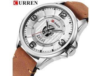 Klocka Herr New Luxury Brand CURREN Men silver white