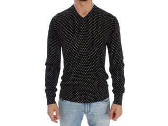 Dolce & Gabbana - Black Silk Polka Dot Pullover Sweater