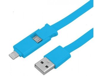 2 In 1 USB kabel med Lightning/Micro Laddare iPhone 5 / Samsung, Blå