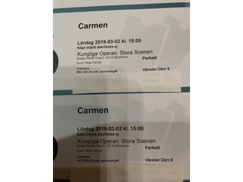 "2 Tickets for Royal Opera Stockholm, ""Carmen"" on 2nd of March 2019, 15.00"