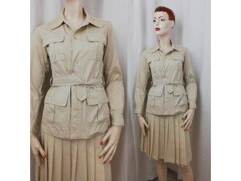 Vintage retro safari jacka skjorta beige bomull skärp fickor