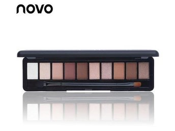 NOVO Brand Fashion 10 Colors Palette Shimmer Natural Eyeshadow, inkl borste