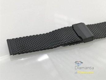 22 mm -- Svart mesh -- NYTT -- klocklänk klockarmband -- länk i stål för dykare - Boliden - 22 mm -- Svart mesh -- NYTT -- klocklänk klockarmband -- länk i stål för dykare - Boliden
