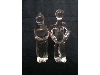 två stycken glas kristal Orrefors figurer skulpturer man & kvinna - Partille - två stycken glas kristal Orrefors figurer skulpturer man & kvinna - Partille
