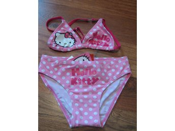 Bad Bikini Hello KItty Sanrio Äkta  Rosa vita prickar röd text 9-10  år THN