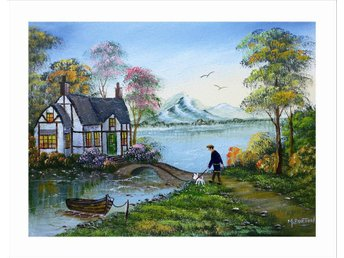 Mal Burton Cottage on the Lake Mountains  Olja på Duk Oil  Canvas