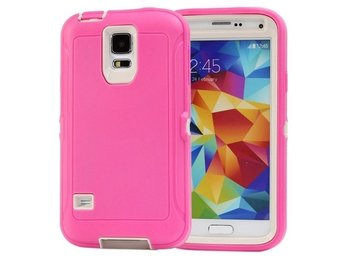 Samsung Galaxy S5 Rough Skal Rosa/Vit