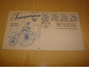 1870s Bicycle Transportation Series 1982 USA förstadagsbrev FDC 4 frimärken