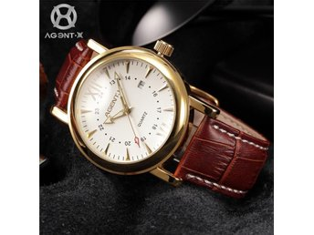 NY AgentX Gold Dial Date Display Leather Band Quartz Men's Watch