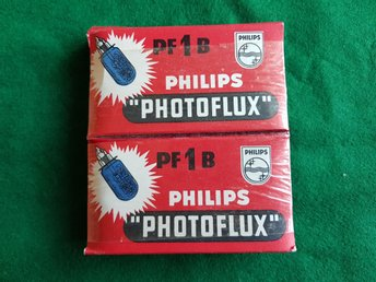 ÄLDRE PHILIPS PHOTOFLUX PF 1 B I OÖPPNAD PAKET. 2 ST. MADE IN HOLLAND.