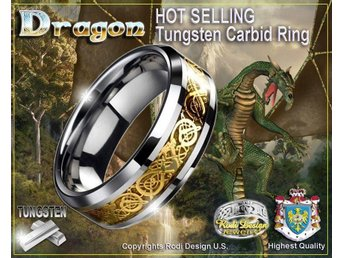 Mycket Vacker Tungsten Ring DRAGON!