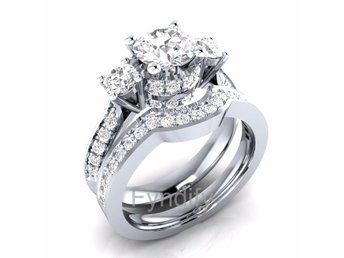 925 Sterling Silver Bridal Ring Set Strlk 9 (US Size)