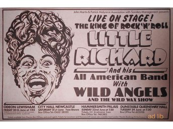 LITTLE RICHARD - LIVE ON STAGE, UK TOUR, TIDNINGSANNONS 1974 - öckerö - LITTLE RICHARD - LIVE ON STAGE, UK TOUR, TIDNINGSANNONS 1974 - öckerö