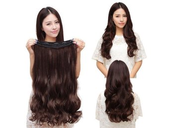 Fashion 3/4 Clip In Hair Extensions with 5 clips long, Curly Dark Brown - Kowloon Bay - Fashion 3/4 Clip In Hair Extensions with 5 clips long, Curly Dark Brown - Kowloon Bay