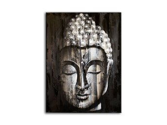 Vacker Wood Buddha Oljemålning på Canvas - 60x80cm - Head Face Art Wall Picture