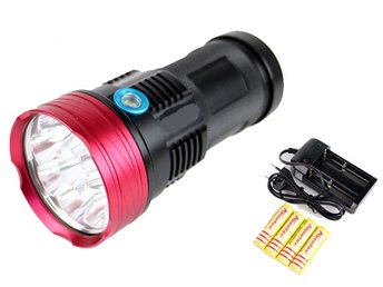 Alonefire 9000 Lumen Led värsting ficklampa Cree 9x XM-L T6 led Superpris !