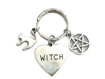 Nyckelring Witch Pentagram Katt Wicca Pagan