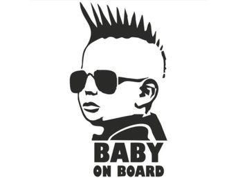 Baby On Board/Barn i bilen Svart bildekal