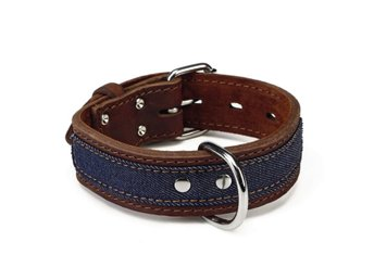 Beeztees Hundhalsband Denim läder brun 40 mm 43-52 cm 745945
