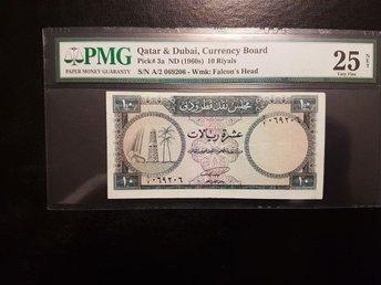 Qatar and Dubai currency board 10 Riyals P# 3A Rare vf 25 PMG - Halmstad - Qatar and Dubai currency board 10 Riyals P# 3A Rare vf 25 PMG - Halmstad