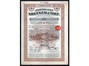 1927 Aktiebolaget Kreuger & Toll, B-Aktie 500 Kronor - Oakville, Ontario, Canada - 1927 Aktiebolaget Kreuger & Toll, B-Aktie 500 Kronor - Oakville, Ontario, Canada