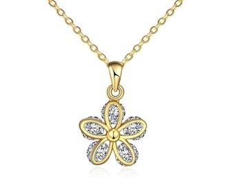 Halsband Guld Blomma med Kristaller - Köping - Halsband Guld Blomma med Kristaller - Köping