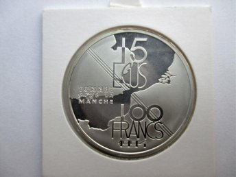 France, 100 francs - 15 ecus, 1994 Tunnel sous la manche