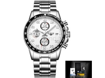 Klocka Herr New LIGE Watches Men Luxury steel white