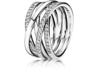 PANDORA ENTWINED CROSS OVER RING 190919CZ  Rek:- 100 Euro