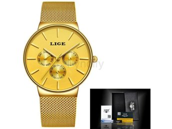 Klocka Herr New luxury brand LIGE Men's all gold