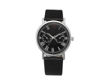 Klocka Herr Retro Design Leather Band Black
