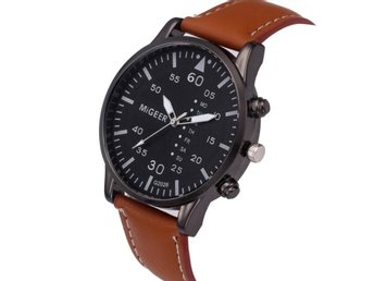 Klocka Herr Retro Design Leather Band Brown
