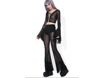 dollskill rave fest festival glitter set lace up flare goth trend hippie co-ord