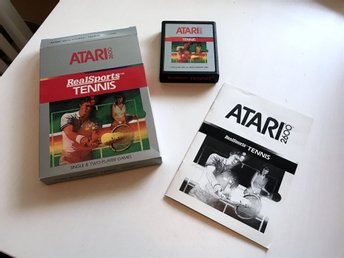 ATARI 2600 - Real Sports Tennis CX2680 Inkl låda & manualer på svenska