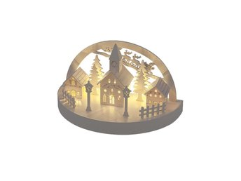 Warm White Wooden Light Up Christmas Decoration LED Village Star Dome