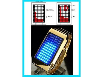 Koreanska!COOL Klocka 60 LED Ljus Armbandsur mit Box
