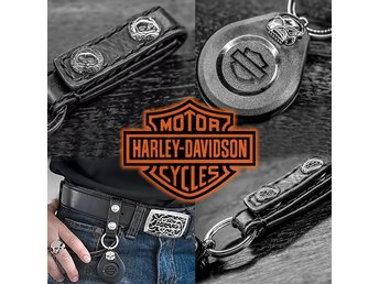 Genuine Harley Davidson Leather & Steel Key Ring with Skull, Nyckelring, STOT007
