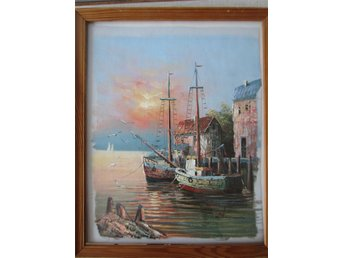 W Sherman . Oil Painting . Boats at harbor wood frame approx 23*19 oljemålning
