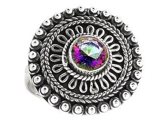 17,25 Äkta silver stämplad 925 ring silverring regnbågstopas - Stockholm - 17,25 Äkta silver stämplad 925 ring silverring regnbågstopas - Stockholm
