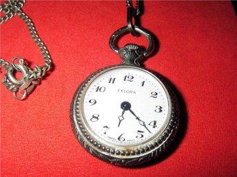 ur klocka halssmycke Eklora 70 talet vintage silver kedja - Uppsala - ur klocka halssmycke Eklora 70 talet vintage silver kedja - Uppsala